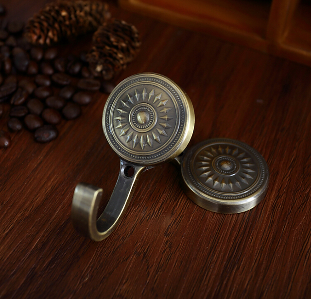 retro sun flower wall hooks clothes hanger bronze silver gold tieback hook chic curtain hook french