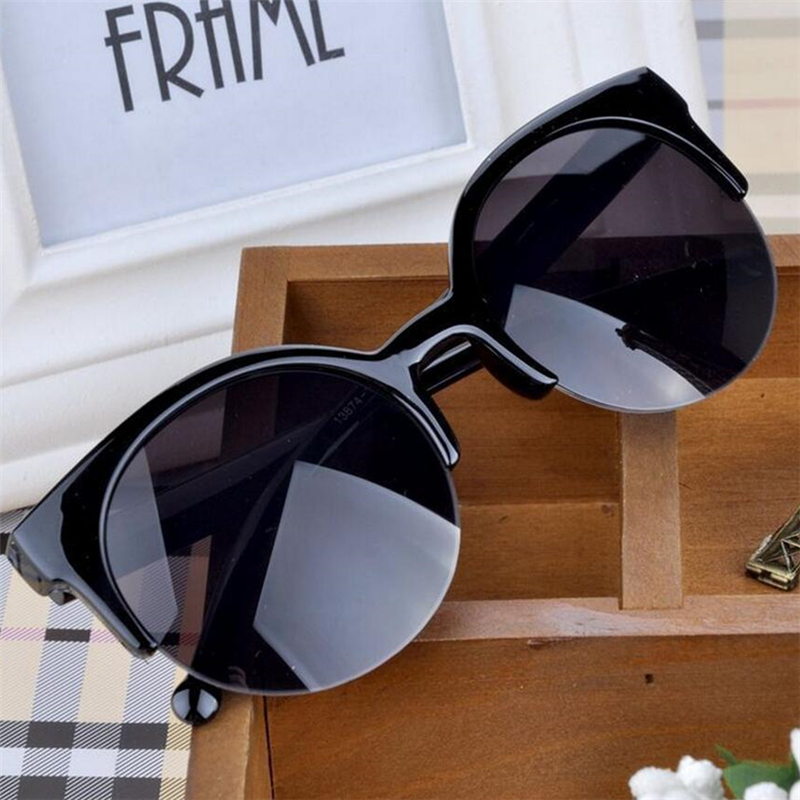 Högkvalitativt 2018 Nytt mode Retrodesigner Superrunda cirkelglasögon Kattögon halvfälglösa kvinnors solglasögon Glasögonglasögon