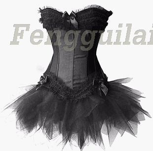 Fast Shipping Women Sexy Gorgeous Burlesque   Corset   &Tutu /Skirt Fancy Dress Outfit Halloween Costume