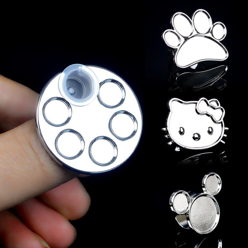 1pc mielas mini nagų dailės metalo pirštų žiedo paletės maišymas akrilo gelio lenkų tapybos piešimo spalvų dažų indų klijų paletės įrankiai
