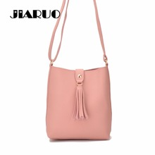 JIARUO Small leather Crossbody Bag For Women 2017 Handbag Purse Tassel Design Bucket Messenger bag Girl Shoulder bag Shopper bag
