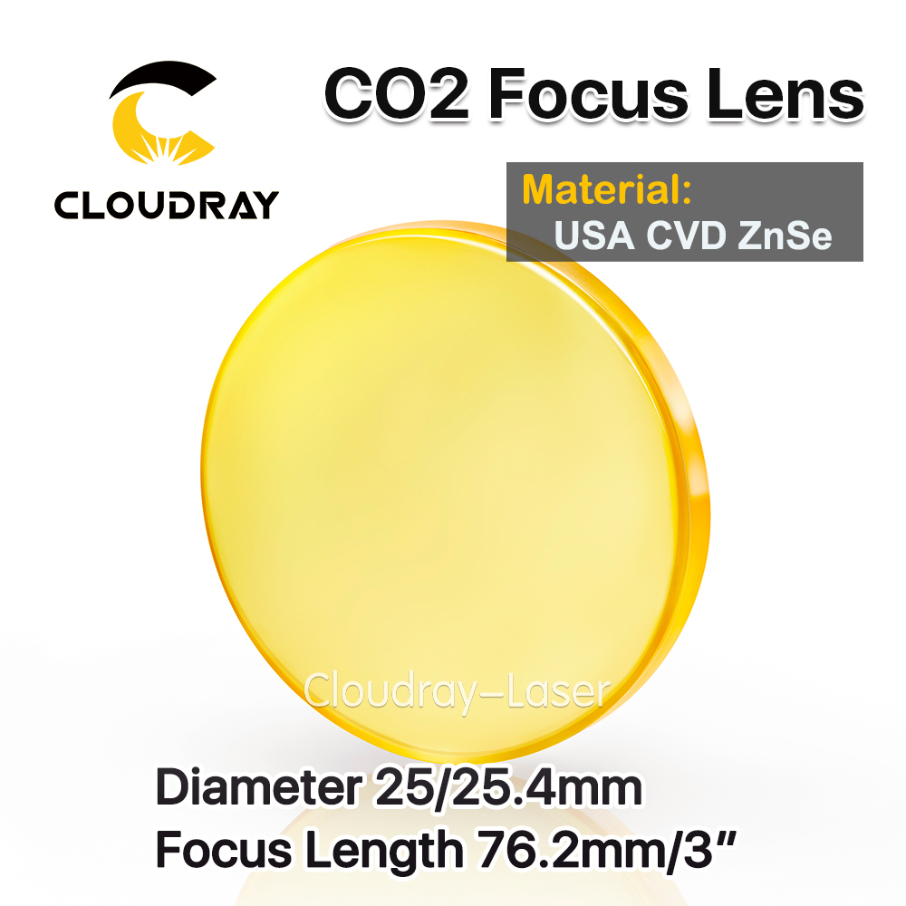 Cloudray USA CVD ZnSe Focus Lens Dia. 25/25.4mm FL 76.2mm 3 for CO2 Laser Engraving Cutting Machine Free Shipping usa cvd znse focus lens dia 28mm fl 50 8mm 2 for co2 laser engraving cutting machine free shipping