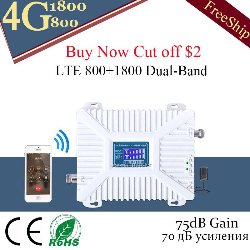 4G LTE 800 bande 20) LTE DCS 1800 répéteur de Signal cellulaire double bande 4G LTE amplificateur GSM 4G 800 1800 antenne 4g Booster Moblie
