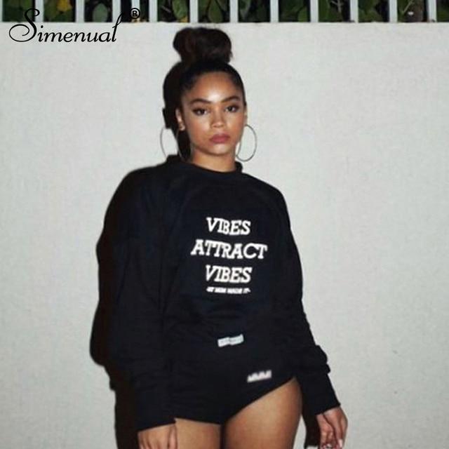 Simenual Reflective Letter Print Casual Sweatshirt Long Sleeve 2019 Autumn Fashion Hoodies Basic Women Sweatshirts Streetwear
