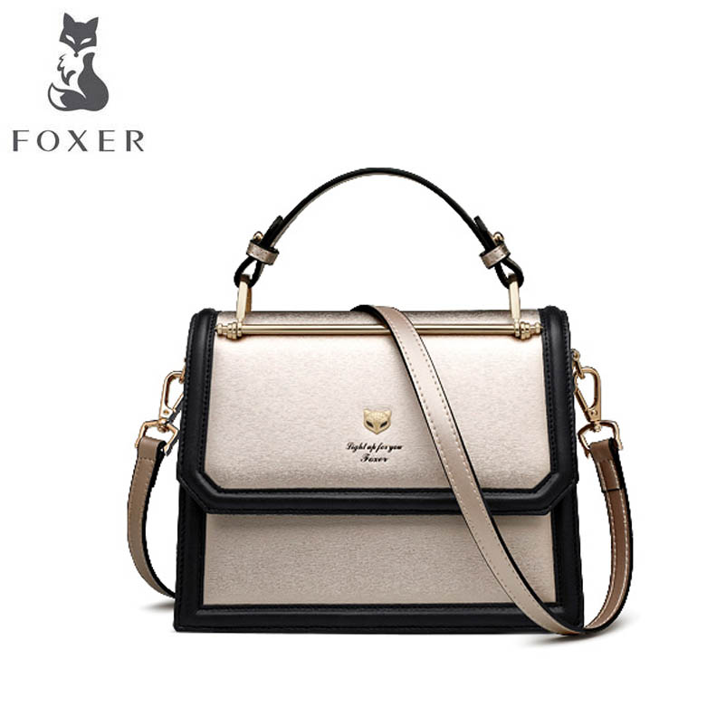 FOXER brand female bag Hand bag 2018 new personality hit color Korean version of the shoulder simple organ Messenger bag luxury brand bag female korean version of the new female bag ms shoulder portable canvas bags women messenger bags