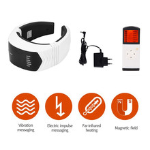 Health Care Smart Rechargeable Far Infrared Heat Neck Massager Neck Cervical Traction Collar Therapy Pain Relief Stimulator health care smart rechargeable usb infrared heating neck massager electric relax cervical treatment acupuncture stimulator