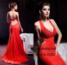 Halter Ausschnitt Open Back Abendkleider Meerjungfrau Elastischem Satin Red Abendkleid vestidos de graduacion Formale Party Kleider