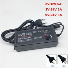Ayarlanabilir AC DC 3 V 12 V 3 V 24 V 9 V 24 V evrensel adaptör ekran ile voltaj regüle güç kaynağı adatpor 3 12 24 v