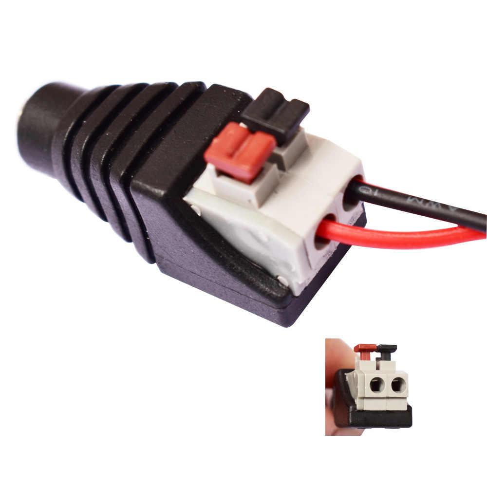 5.5*2.1mm DC żeńskie gniazdo typu jack przejściówka złącze do 3528/5050/5730 pojedyncze kolorowy pasek LED światła CCTV