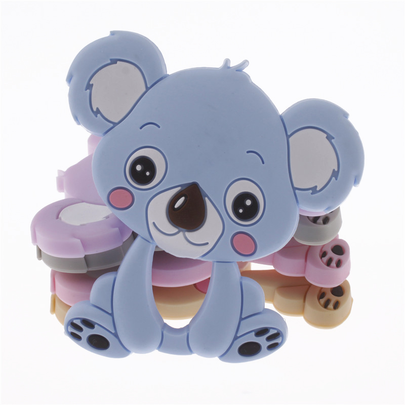10pcs Koala Silicone Teether Pendant Bear Baby Teether Toys BPA Free Chewable Silicone Teething Chew Toys For Baby silicone bear