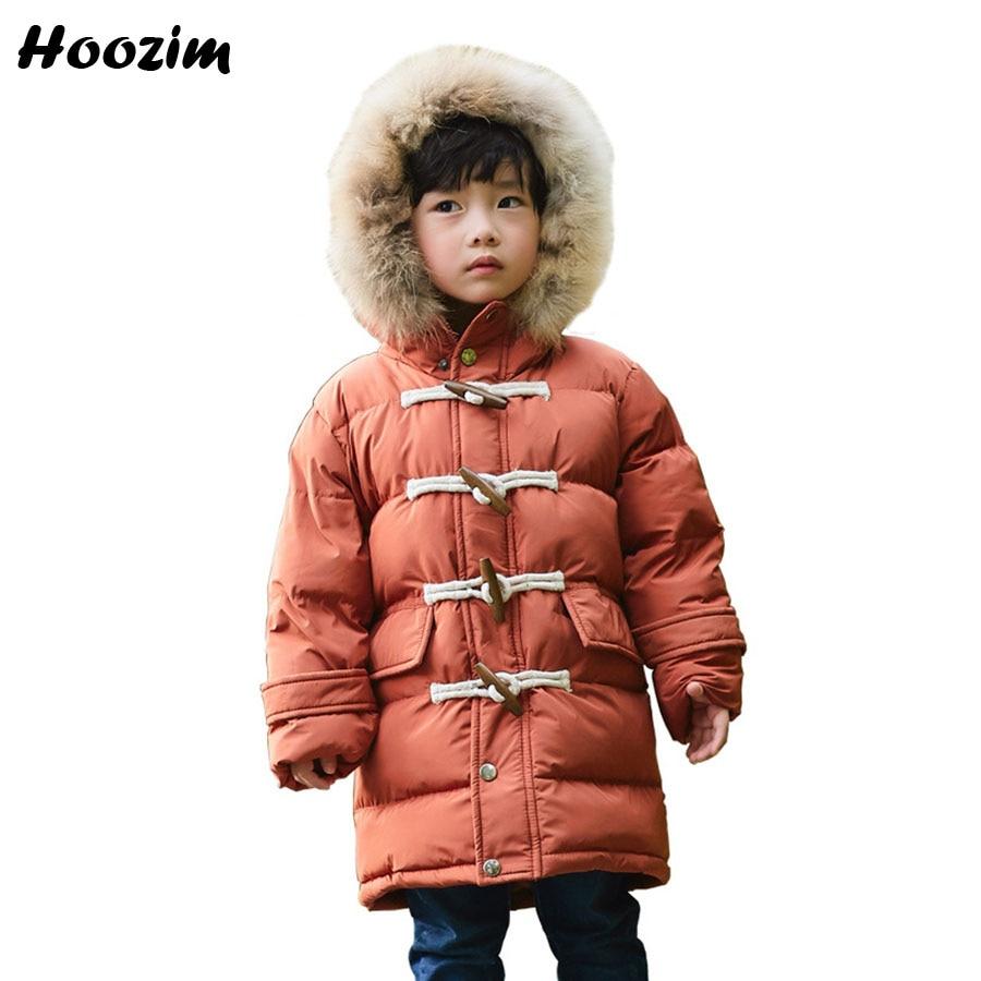 Winter White Duck Down Jackets For Boys 5 6 7 8 European Children Clothes Faux Fur Collar Coat Kids Autumn Long Outerwear Girls