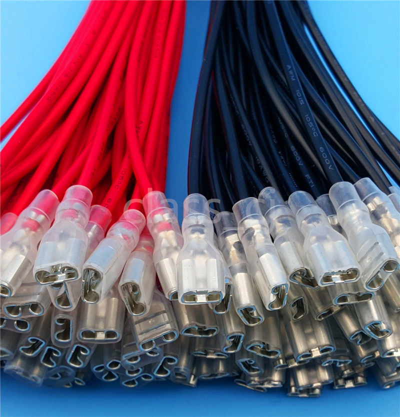 50Pcs/25Pairs 6.3mm Female Spade Crimp Terminals Wire 20CM AWM 1007 22AWG