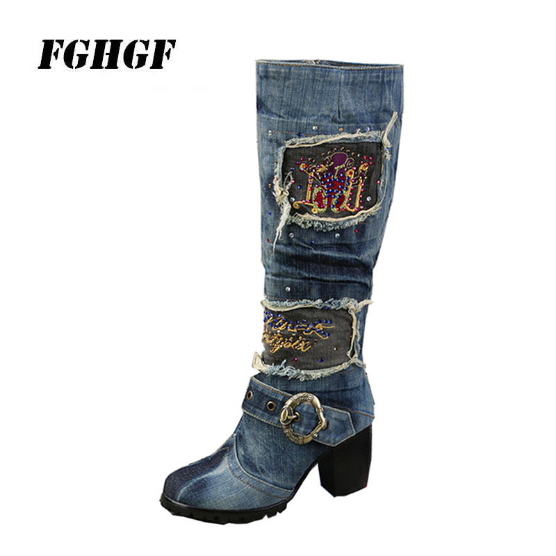 Denim Women S Boots Square Heel Knee High Patchwork Style Short Plush Zipper Pigskin Rubber Comfortable