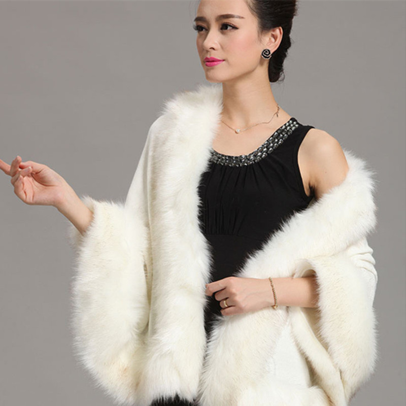 Fashion Autumn Winter Women Faux Fur Coat Leather Grass Fox Fur Collar Ponchos And Capes Lady Shawl Cape Wool Fur Coat