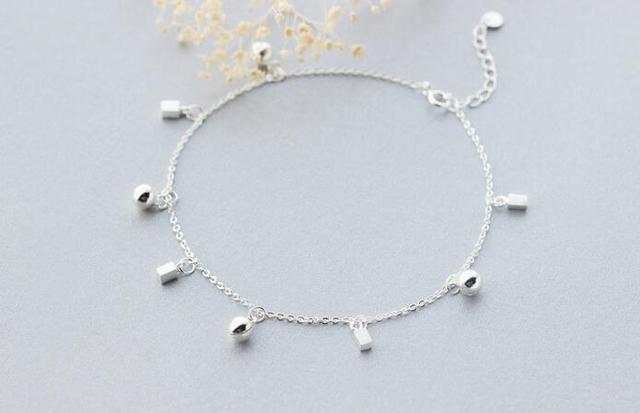 1 pc 925 Prata Esterlina jóias Sorte Sino Rodada Jinjle & Cubo Quadrado pulseira Cadeia Tornozeleira ajustável LS217