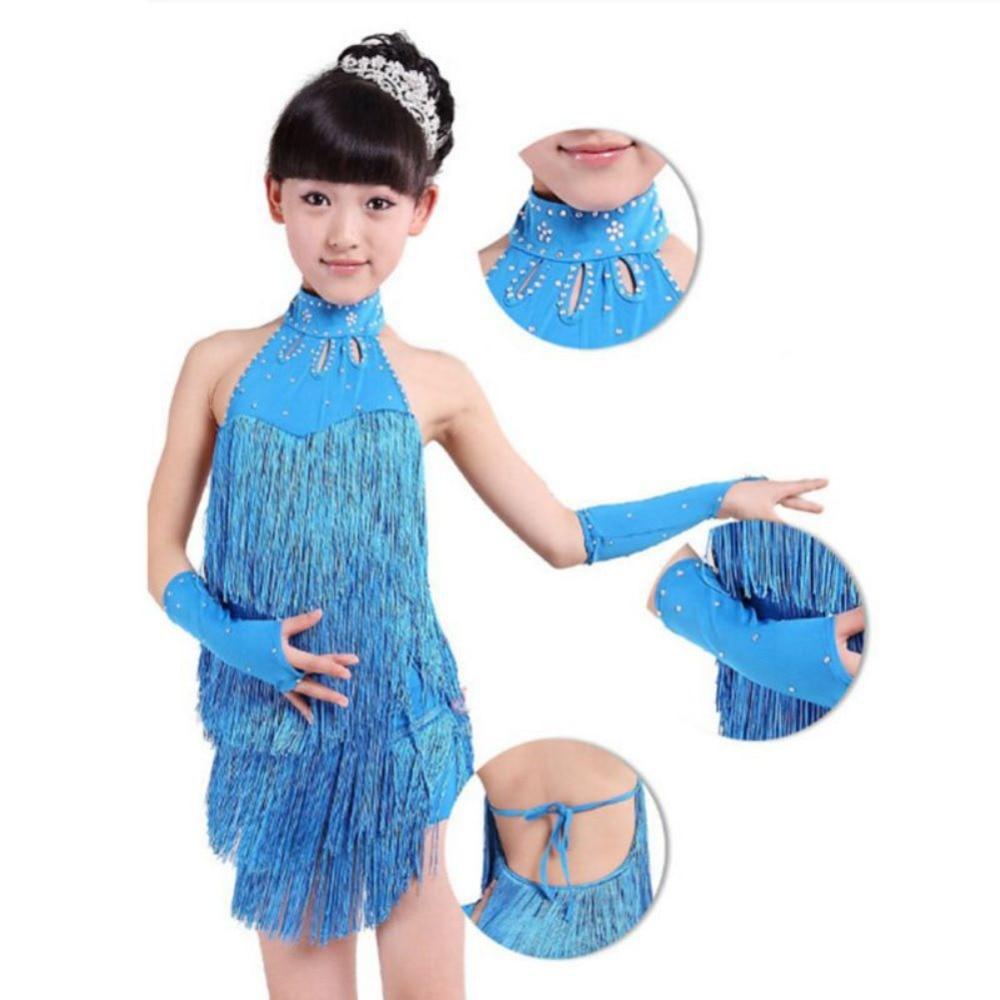 Hot Kid Girl Tassel Dress Ballroom Latin Salsa Dance wear Party ...