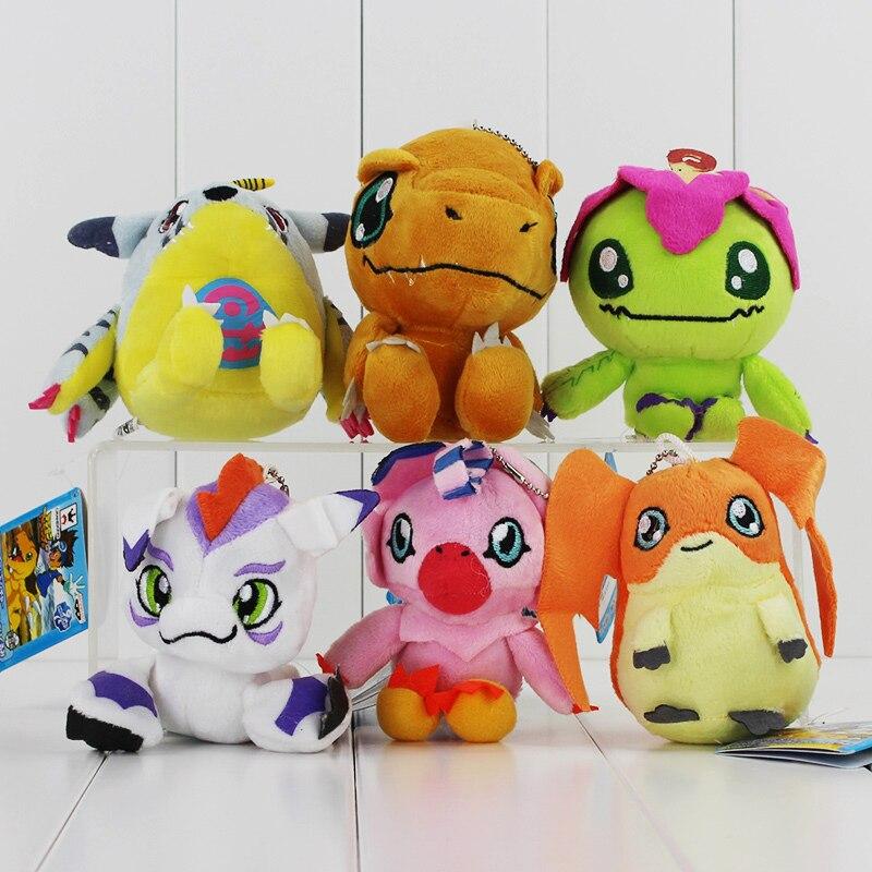 6Styles 10cm Digimon Plush Patamon Agumon Palmon Piyomon Gomamon Gabumon Plush font b Toys b font