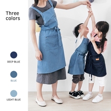 Cotton denim hanging neck kitchen sleeveless apron studio anti-dirty anti-fouling simple family cooking cake master