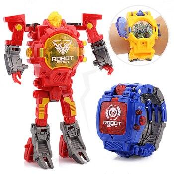 c9e67fd26c Reloj de pulsera de transformación de dibujos animados juguete creativo  Robot electrónico reloj para niño niños deforme Robot reloj deportivo  juguete regalo ...