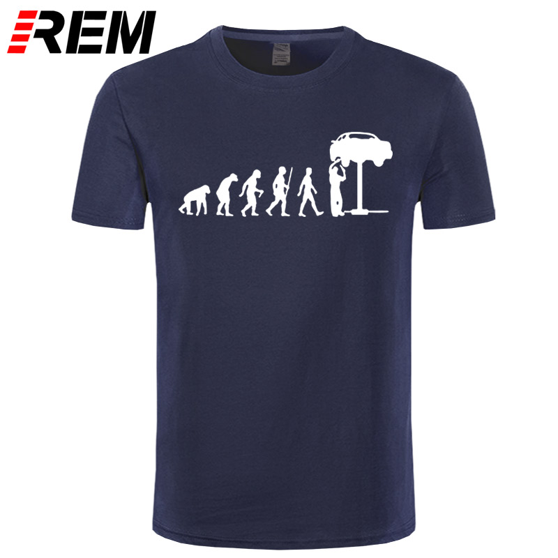 REM Summer Style Evolution Auto Mechaniker Mechanic Car T-Shirt Tops Funny Gift T Shirt For Men Tee