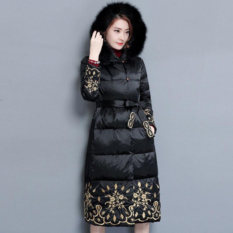 Ricamo caldo Cappotto Invernale di Spessore Donne Faux Fur Con Cappuccio In Cotone di Alta Qualità Imbottito Giacca Lungo Inverno Parka Arigos Mujer TT3509-in Parka da Abbigliamento da donna su  Gruppo 1