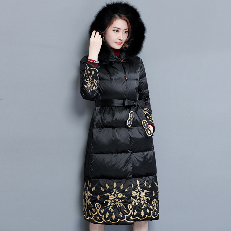 Warm Embroidery Thick Winter Coat Women Faux Fur Cotton Hooded High Quality Padded Long Winter Jacket Parka Arigos Mujer TT3509