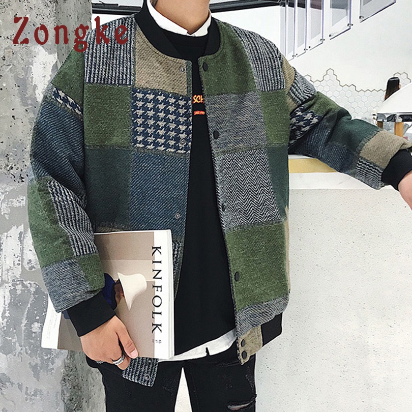 Zongke Woolen Plaid Bomber Jacket Men Fashions Hip Hop Streetwear Winter Jacket Men Coat Men Jacket Zongke Woolen Plaid Bomber Jacket Men Fashions Hip Hop Streetwear Winter Jacket Men Coat Men Jacket Coat 5XL 2019 Sping New
