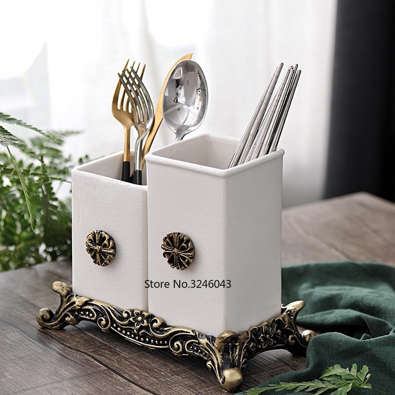 High grade Nordic ceramic creative household drain chopsticks tube American chopsticks box kitchen spoon cutlery storage