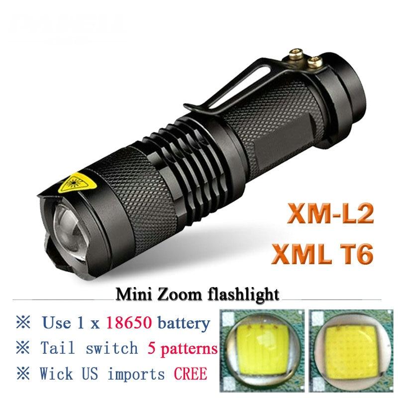 Mini Portable torch 3800LM Waterproof LED Flashlight CREE XML T6 XM L2 5 Modes Zoomable LED Torch penlight Linterna led