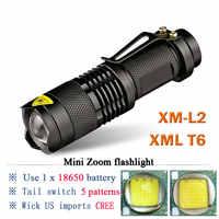 Mini Linterna portátil 3800LM Linterna LED impermeable CREE XML T6 XM L2 5 modos Zoomable Linterna LED Linterna led