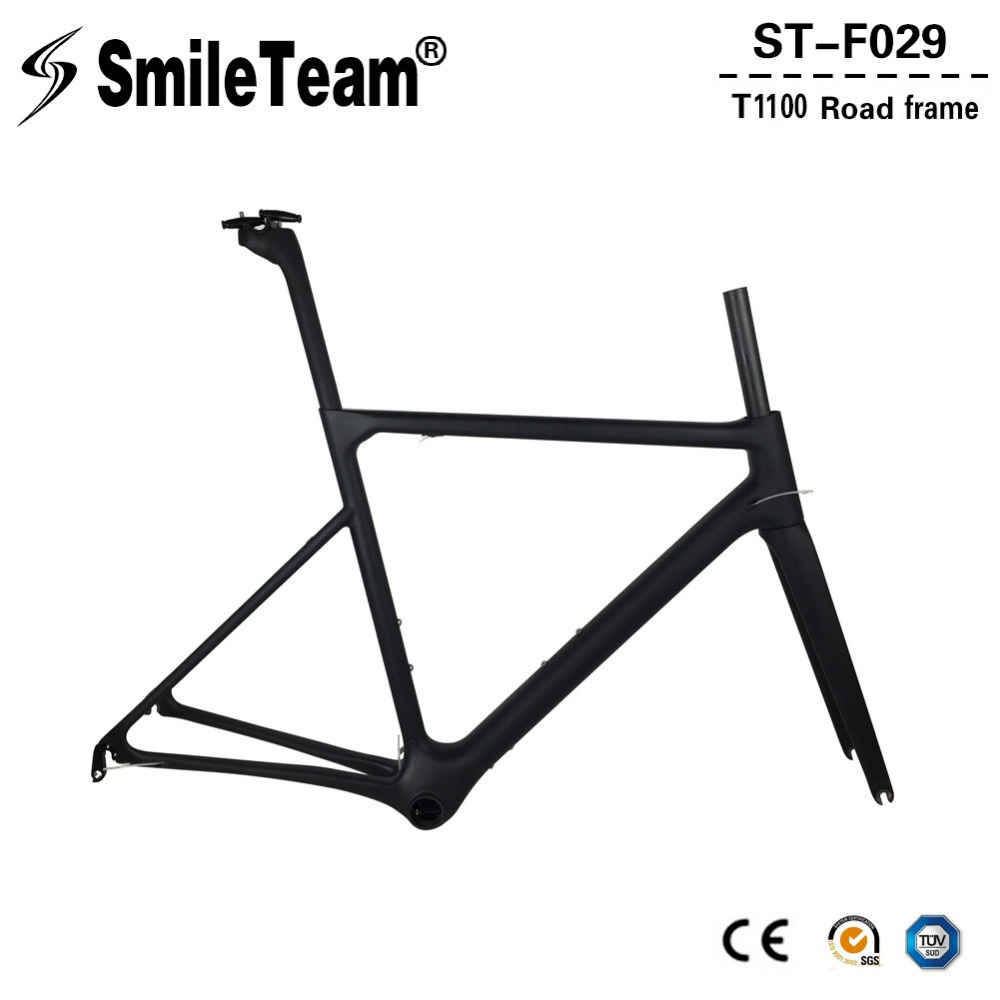 SmileTeam 2018 New T1100 Full Carbon Road Bike Frame Aero Monocoque Carbon Racing Bicycle Frame Di2 & Mechanical Road Frame 780g smileteam new 27 5er 650b full carbon suspension frame 27 5er carbon frame 650b mtb frame ud carbon bicycle frame
