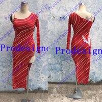 Robe De Danse latine Salle De Bal Danse Robe Latine De Danse Costume Vêtements De Danse Latin Tango Robe Samba Jupes Prodesigner rouge dame