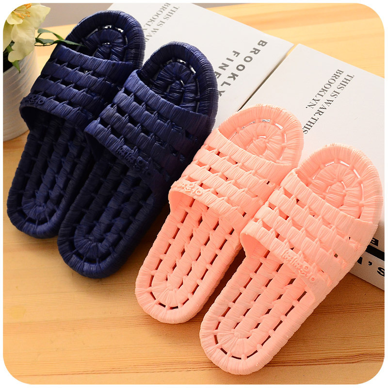 Sales household slippers men's and women's soft bottom hollow out anti-skid bathroom slippers