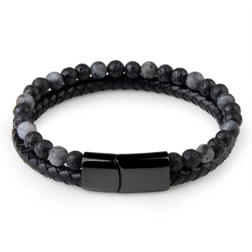 2019 Модные мужские ювелирные изделия натуральный камень браслет из натуральной кожи черный нержавеющая магнитный браслет со стальными элементами шарик из тигрового глаза браслет для мужчин