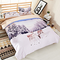 White Snowscape Tree And Deer 3D Bedding Set Queen Size Quilt Cover Bed Sheets Pillowcase Pure