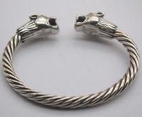 Чистое Серебро 925 пробы браслет голова тигра веревка Форма Открытый браслет подходит 58 62 мм