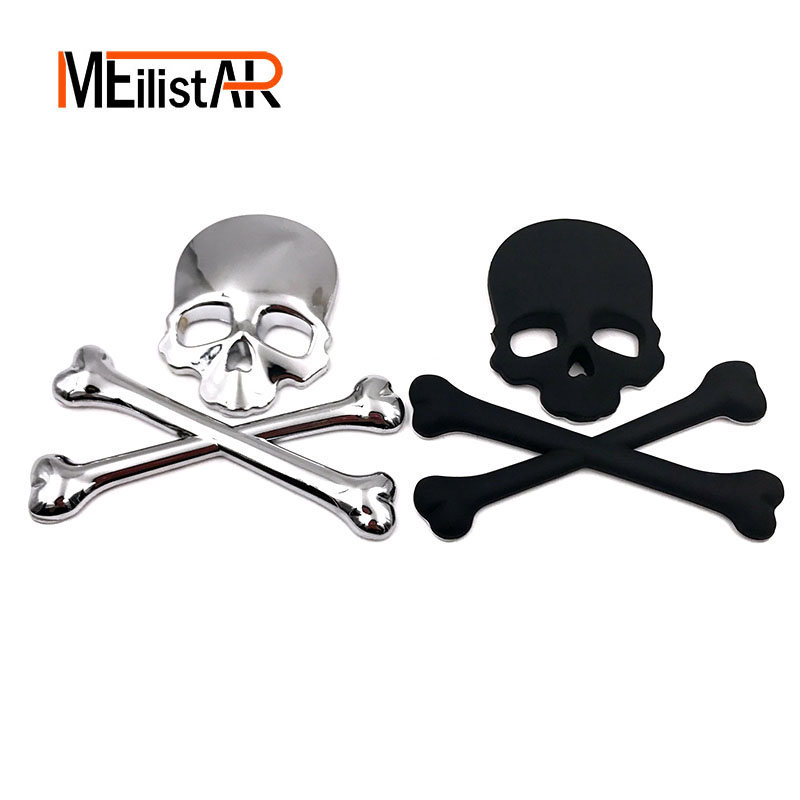 ≧1 unid nuevo Cool 3D Skull metal esqueleto Crossbones motorcle ...