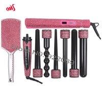 Crystal Hair Hot Tools Bling Bling Hot Pink Crystal Hair straightener Diamond Curling wands Kit Crystal Hair Brush Hair Boutique