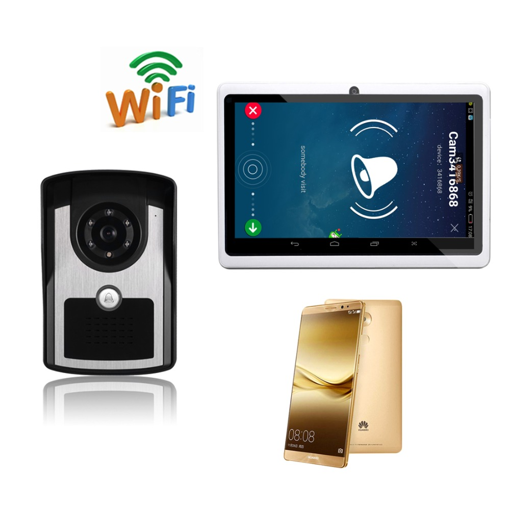WiFi Wireless Video Door Phone intercom Doorbell Peehole Camera Remote Unlock PIR IR Night Vision Alarm Android IOS Smart Home kinco wifi remote control night vision video doorbell hd waterproof dtmf motion detection alarm smart home for smartphone