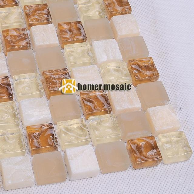 Beige Gemischt Hellbraun Glas Und Stein Mosaik Fliesen Für Bad Dusche  Fliesen Küche Backsplash Fliesen HMEE016