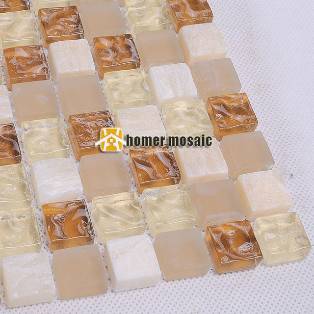 Beige Mixed Light Brown Glass And Stone Mosaic Tile For Bathroom Shower Tiles  Kitchen Backsplash Wall