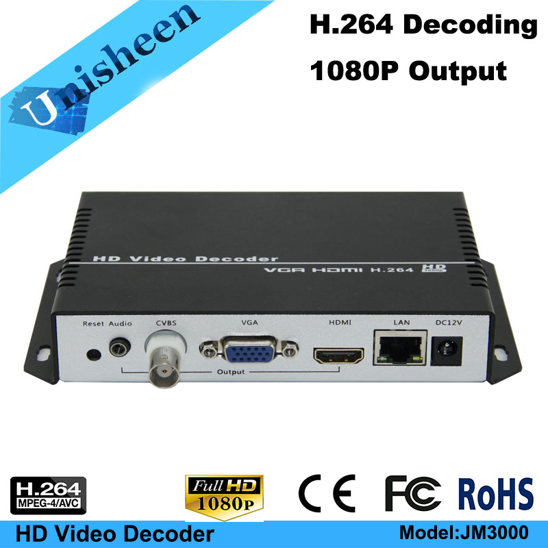 MPEG 4 AVC H 264 Video Decoder VGA HDMI output repleace topbox PC transmitter IP encoder