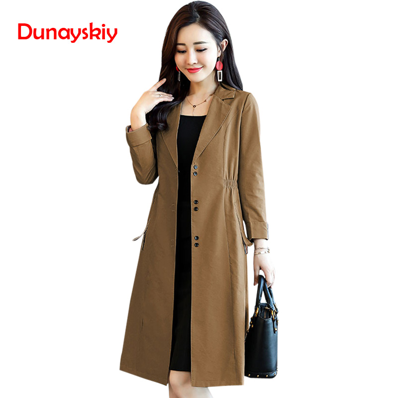 X-Long Turn Down Collor Solid   Trench   Women Fashion Casual Vintage A Line Single Breasted Women Coats OL Elegant Autumn   Trench