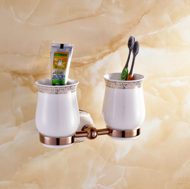 Aseo baño doble vaso titular de cepillo de dientes de oro de cobre de estilo Eur