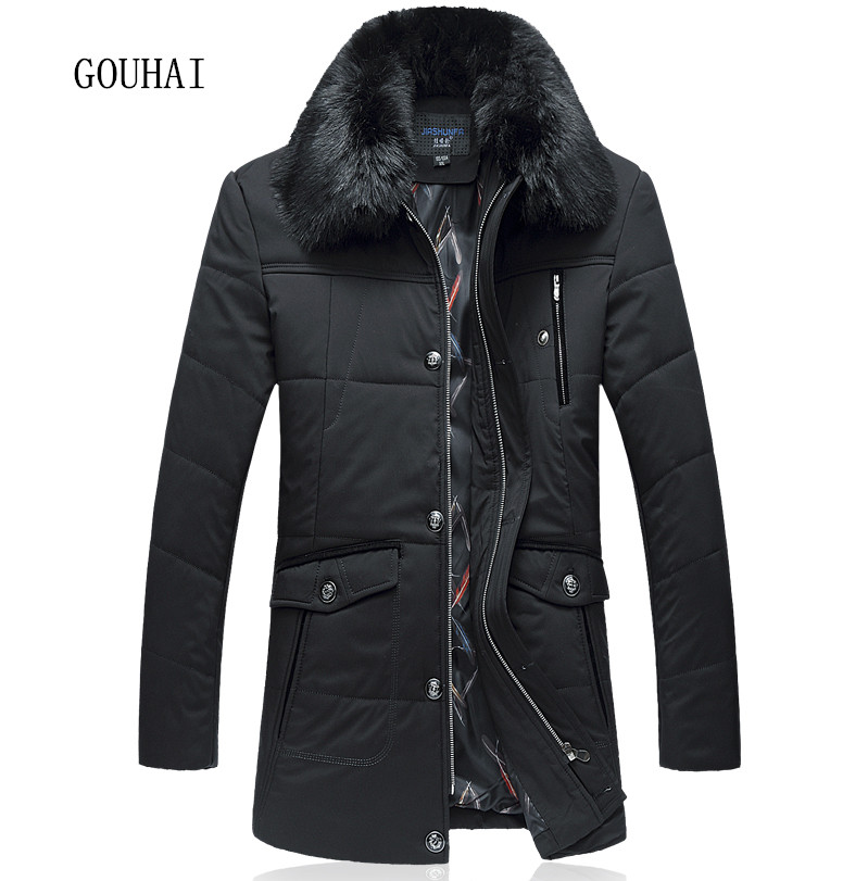 Men Parkas Cotton Thick Warm Long Jacket Business Plus Size L-7XL 2016 Man Fur Collar Down Coat Winter Windproof Overcoats