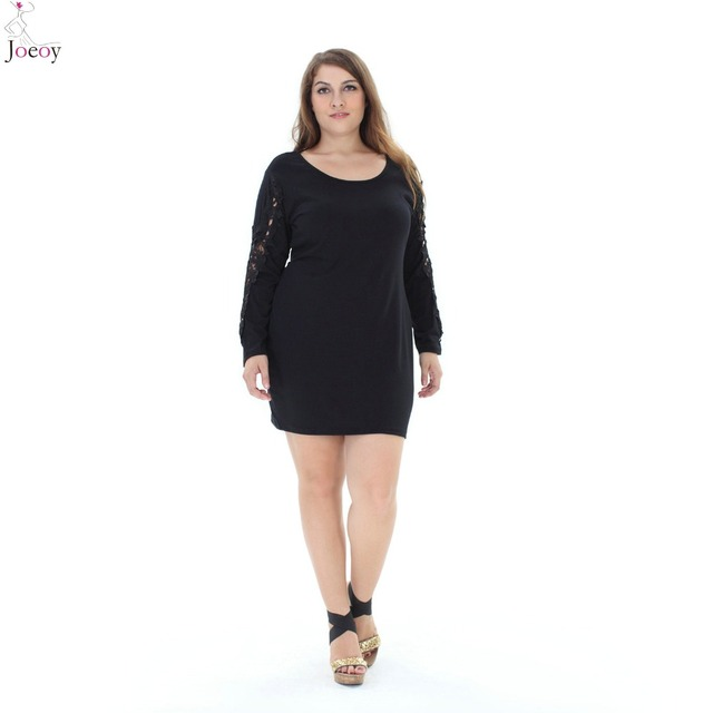 Women Black Sheer Lace Sleeve Bodycon Mini Dress 2016 New Casual