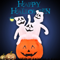 YUYU Inflatable 1.2 m Three Ghost Pumpkins Costume Party Cosplay Inflatable Skeleton Costume Venue Props Halloween Decorations