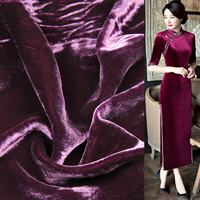 Deep wine red silk velvet fabric silk and viscose blended fabric 210g/meter,SVL014