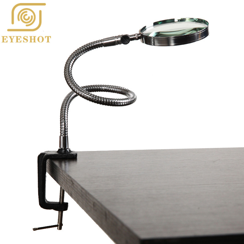 Hot Magnifier Collo Flessibile Ingrandimento Scrivania Morsetto Da Tavolo Cartelle di Plastica Metallo Cavallo 3X100mm Lente di Ingrandimento Repaire Magnifier