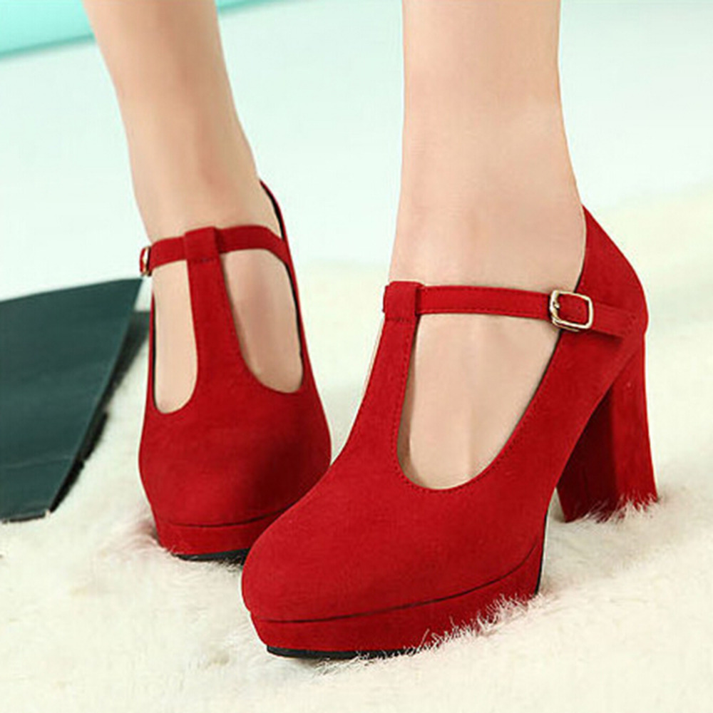 Free Shipping Women Suede Round Toe High Chunky Heels T Bar Retro Pump Shoes  80513 redin Womens Pumps from Shoes on Aliexpresscom  Alibaba Group